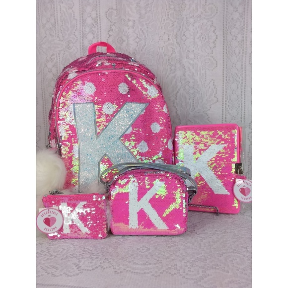 Justice Initial K Reversible Pink Sequin Bag Set 0ed7b02a813a0